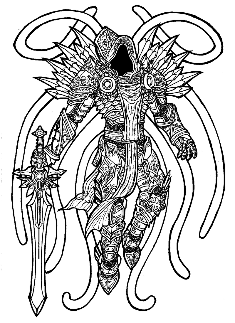 diablo coloring pages - tyrael by syook on deviantart
