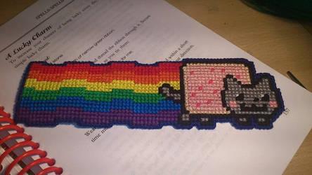Cross Stitch Nyancat bookmark by passionfyre