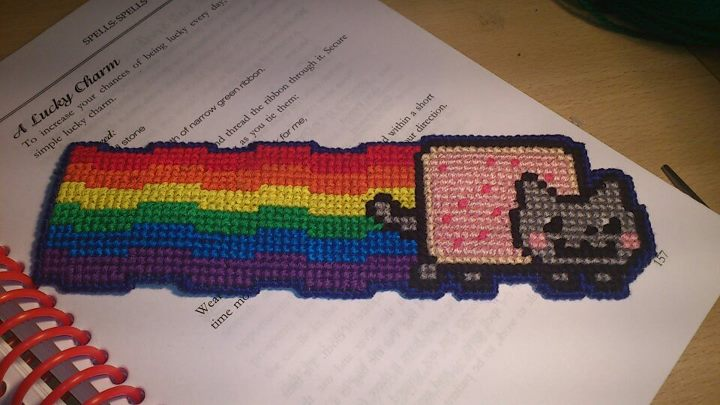 Knit Stitch Bookmark : Cross Stitch Nyancat bookmark by passionfyre on DeviantArt