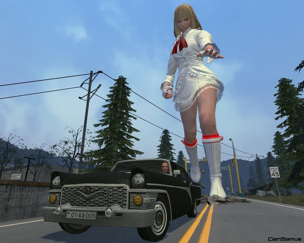 Lili Chasing a Car by GenSamus