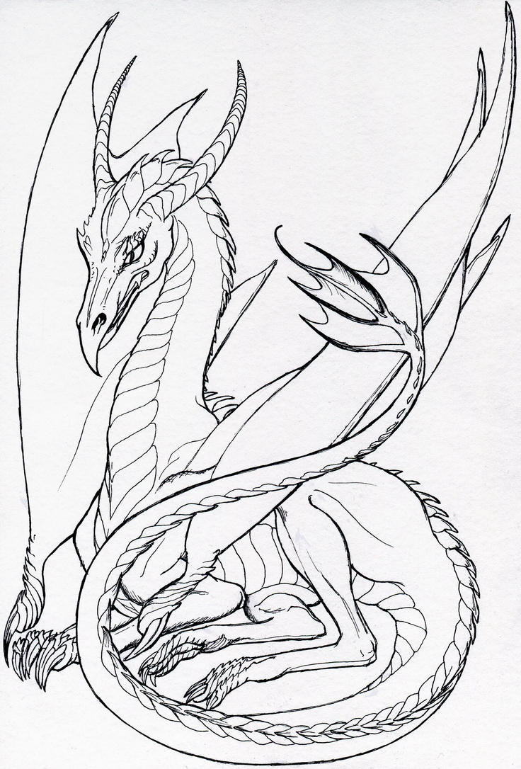 Dragon Lineart : Resting dragon lineart by hareguizer on deviantart