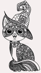 Witchy Kitty zentangle