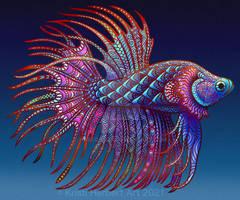 Betta Fish zentangle