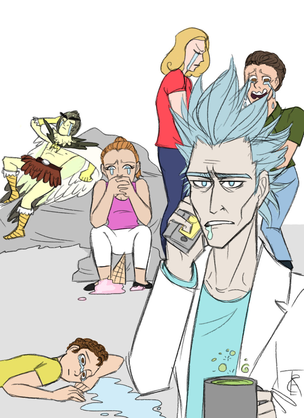 Draw the squad meme: Rick and Morty