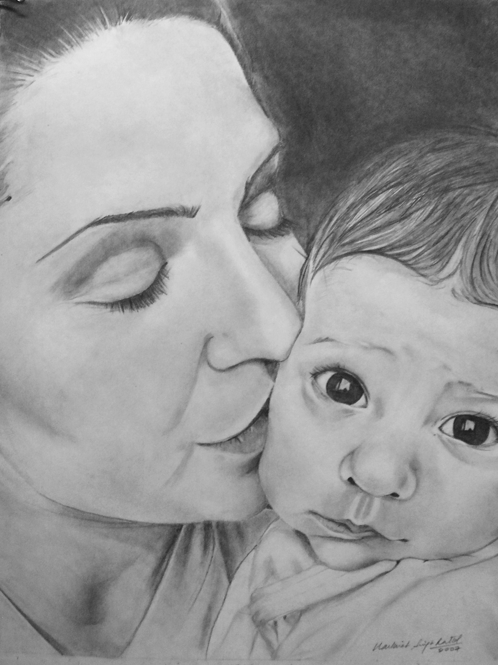 Mother to a child sketch by graphitehand