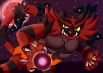 Dark Hunter on the red Moon by ShedragonArtist