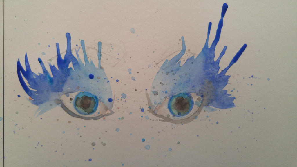 My first attempt at watercolor blue eyes by angelrose02 on for My first watercolor painting