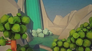Low poly landscape | Waterfall river