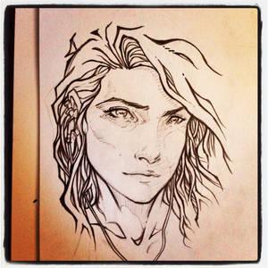 Headphone Girl Drawing