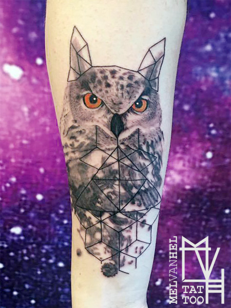 Geometric abstract eagle owl tattoo by Electronic-Sin on DeviantArt