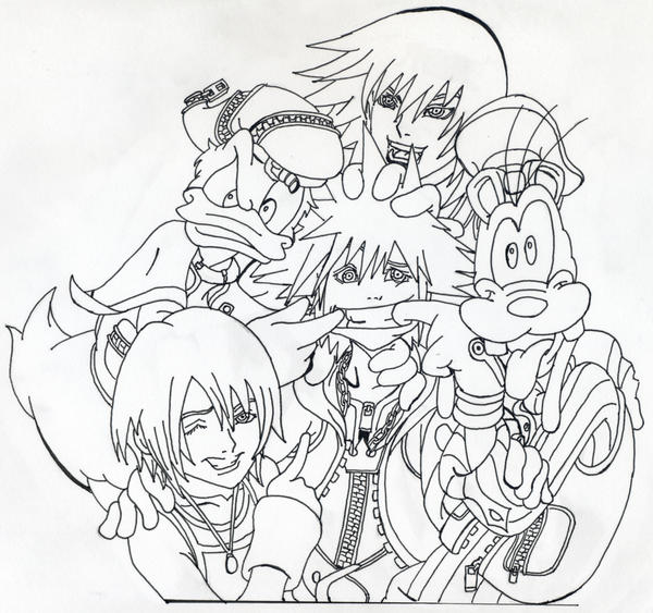 Kingdom Hearts Lineart : Kingdom hearts group lineart by andrex on deviantart