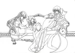 Lelouch and C.C. - Lineart HQ