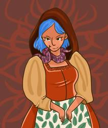 Girll With Snake + Blue Hair by LynxKittyArt