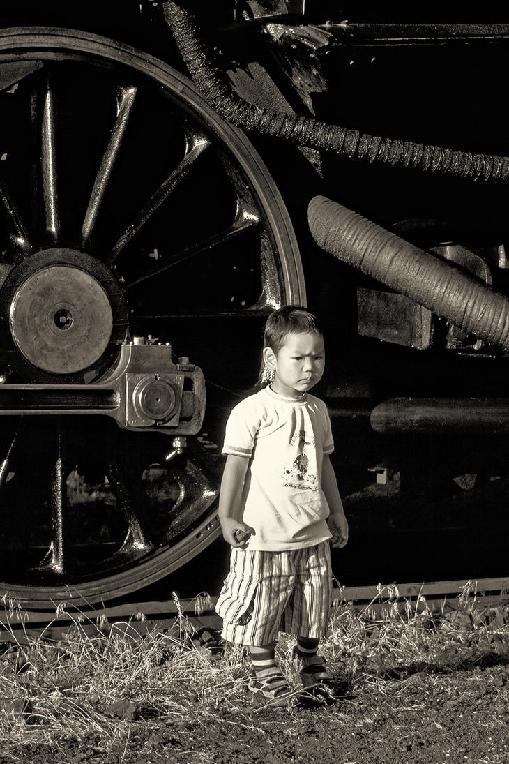 steam engine and little boy by Ulliart
