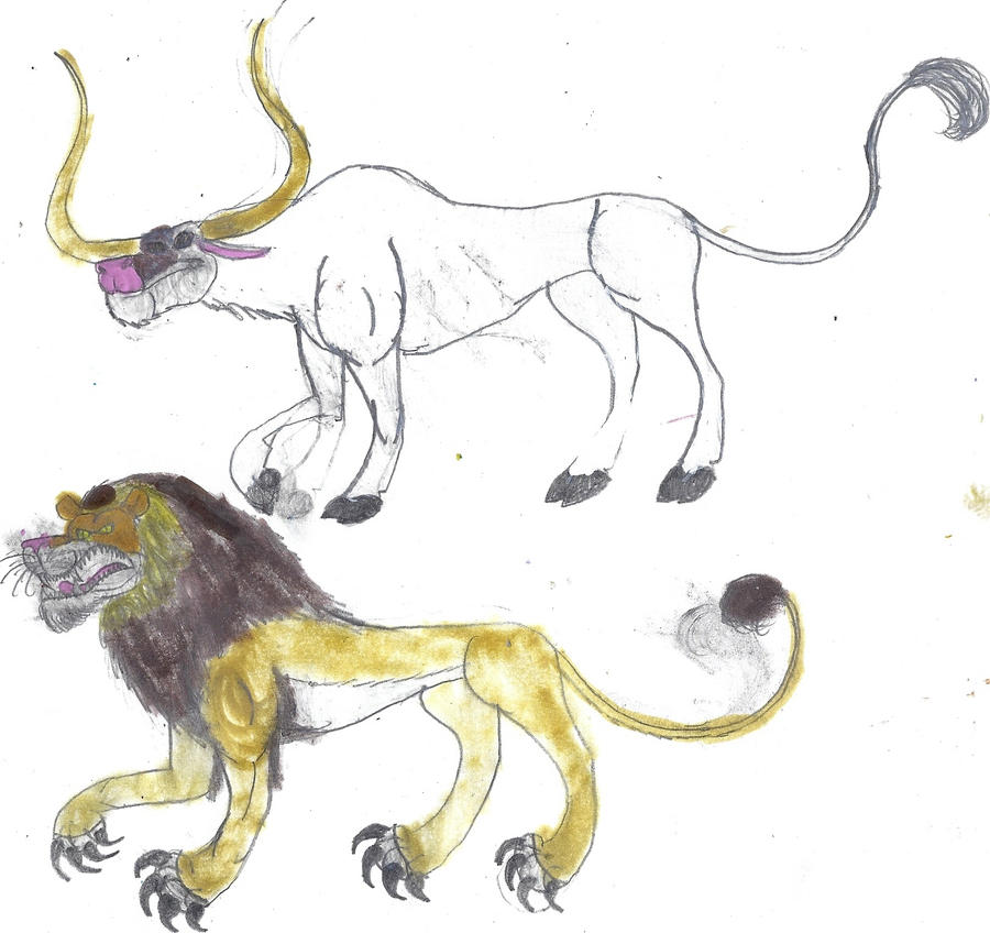 Nemean Lion and Cretan bull by masonday on DeviantArt