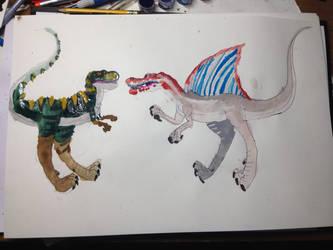 T-rex vs spinosaurus by masonday