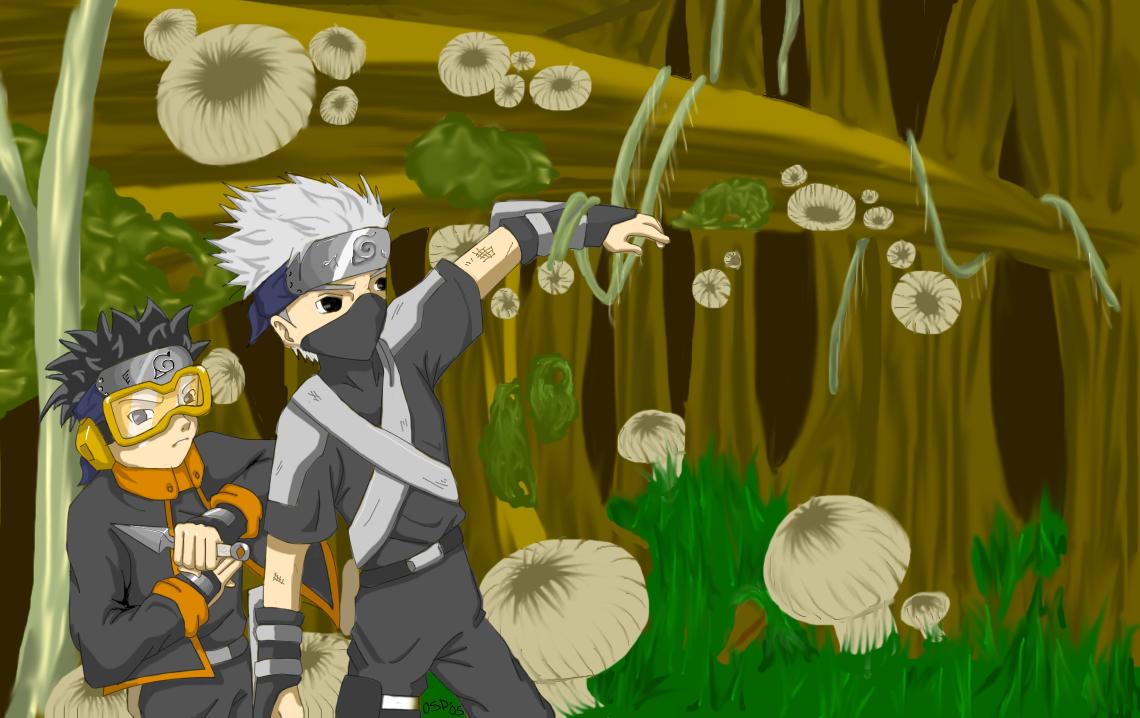 Kakashi and Obito - Forest by osiris-sky-dragon