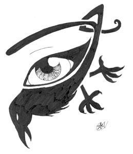 Crow eye tattoo by LunaNera