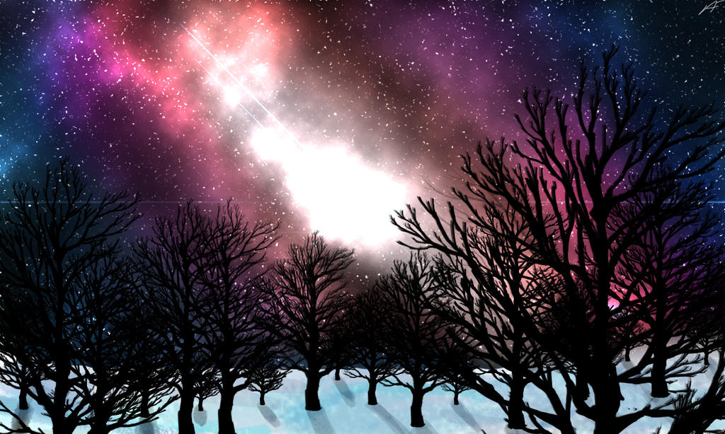 Snowy Space Digital Painting by Latashi
