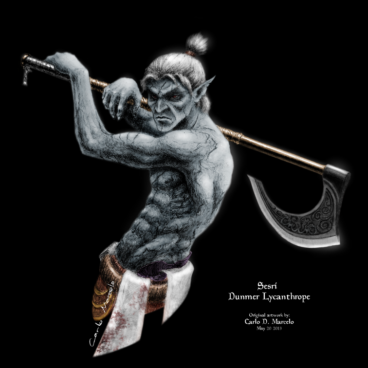 Dunmer Werewolf concept art by Carlo-Marcelo