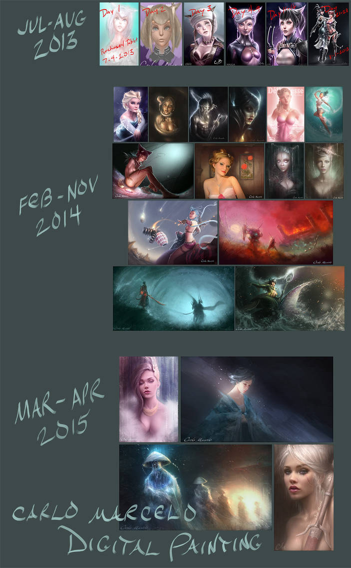 Digital painting progression JUL2013 - APR2015 by Carlo-Marcelo