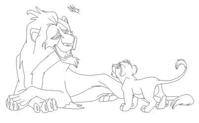 Scar and Simba cub base by IceNinjaMonkey