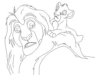 Mufasa and Simba base by IceNinjaMonkey