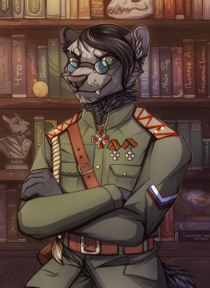 Ferret and his books