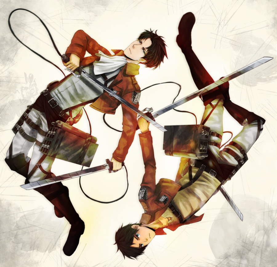 Rivaille and Eren by Wanini