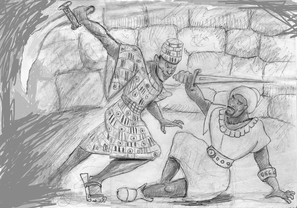 Masomakali vs. Kamau in The Blood of Titans by werewolfwriter