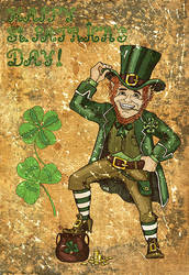 Old card with Leprechaun and clovers by Samiramay