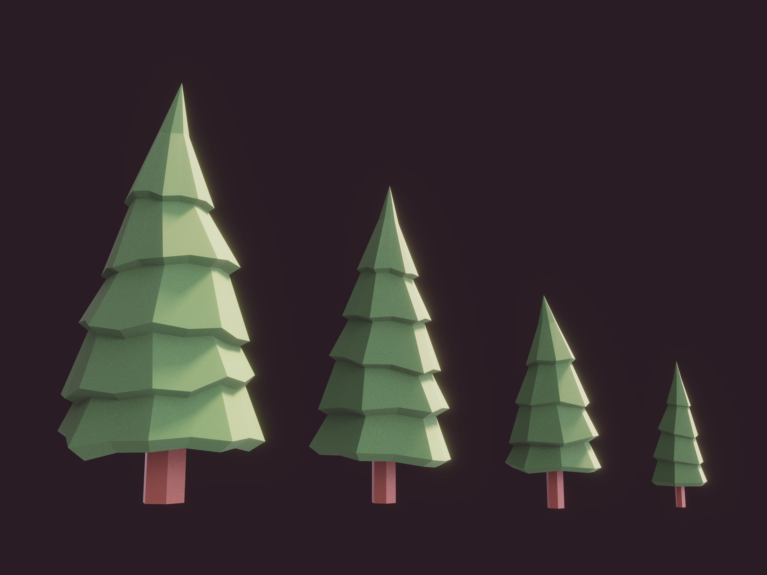 Some lowpoly fir trees by romanpapush