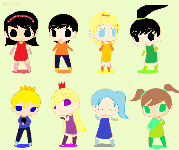Anime friends group chibi
