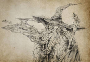 Gandalf and the Smoke Dragon (Old Paper) by singhfae