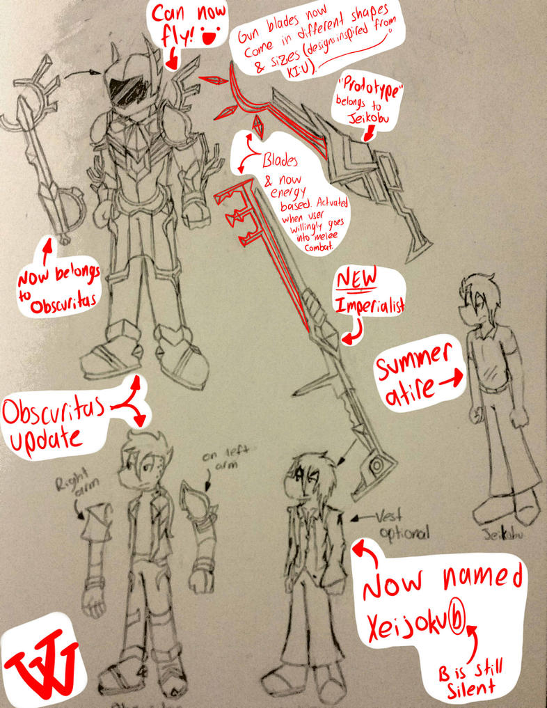 Sketch Dump: Character and weapon redesigns by Vivi-Sinclair