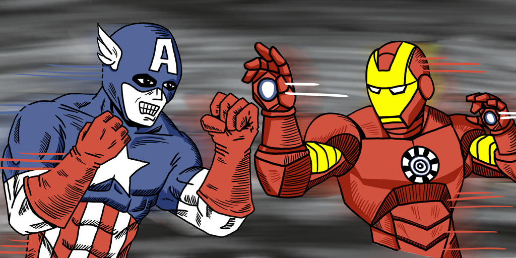 Cap vs Iron Man  by APStephens