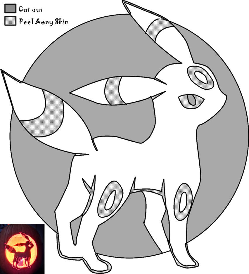 Umbreon pumpkin stencil by batnamz on deviantart for Pokemon jack o lantern template