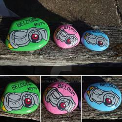 Shiny Beldum painted rocks