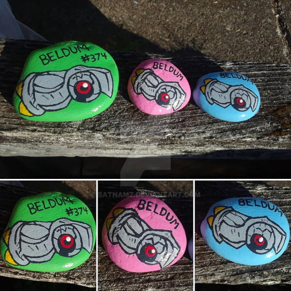 Shiny Beldum painted rocks by Batnamz