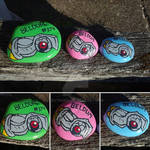 Shiny Beldum painted rocks