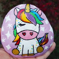 Rainbow Unicorn - painted rock