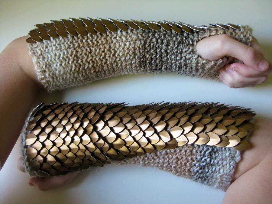 Aluminium Pangolin Knit Gloves by CraftyMutt