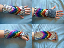 Knitted Rainbow Scales by CraftyMutt