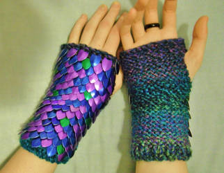Knitted Scale Gauntlets in purple, blue and green by CraftyMutt
