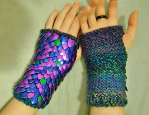 Knitted Scale Gauntlets in purple, blue and green