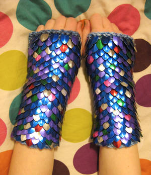 Rainbow Fish inspired Knitted Scale Gauntlets