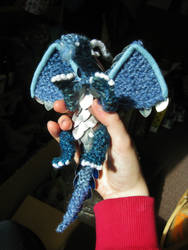 Metal Scaled Miniature Knitted Dragon (blue) by CraftyMutt