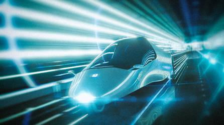 Futuristic vehicle in tunnel
