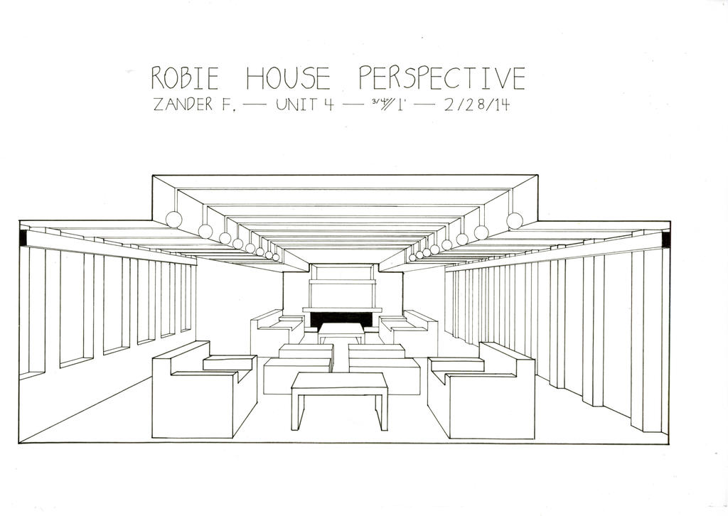 Robie House Perspective by Drachepanzer on DeviantArt