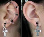 Black Ankh Ear Vines by lavadragon